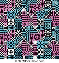próbka, pink-blue, patchwork, geometryczny