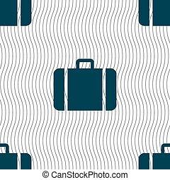 próbka, poznaczcie., seamless, wektor, walizka, geometryczny, texture., ikona