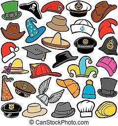 próbka, różne kapelusze, seamless