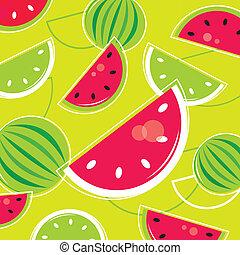 próbka, /, retro, świeży, melon, tło, lato, -, zielony, różowy