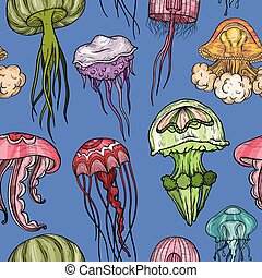 próbka, seamless, jellyfish.
