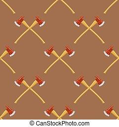 próbka, siekiery, firefighter, krzyż, seamless