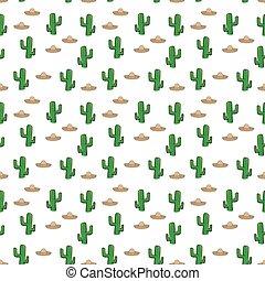 próbka, tło, seamless, kaktus, kapelusz, tapeta, tekstylny, wektor, sombrero, giftwrap, meksykanin, biały
