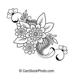 próbka, tło, wektor, kwiat, biały