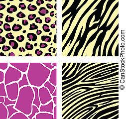 &, próbka, /, tiger, zebra, żyrafa, żółty, leopar, zwierzę, różowy