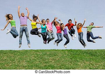 prąd, grupa, skokowy, rozmaity, mieszany, uśmiechnięty szczęśliwy