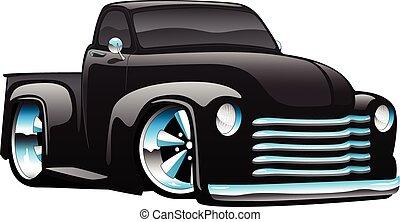 pręt, pickup, gorący, wózek, ilustracja