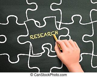 praca badawcza, intrygować kawał, ręka, słowo, pisemny