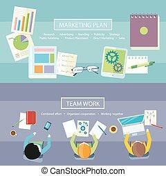 praca, handel, pojęcie, plan, drużyna