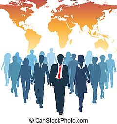 praca, handlowy zaludniają, globalny, ludzki, drużyna, zasoby