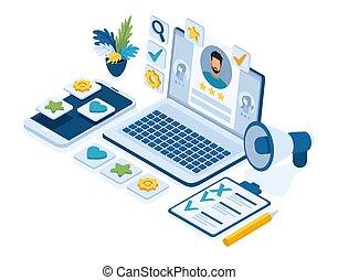 praca, kierownicy, praca, isometric, pojęcie, seekers, werbunek, streszczenie, ikony, laptop, hr, streszczenie