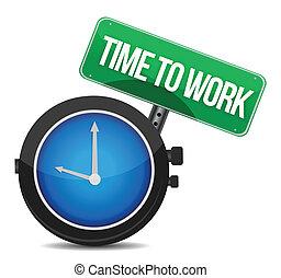 praca, pojęcie, ilustracja, czas