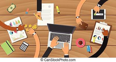 praca, spotkanie, handlowy zaprzęg