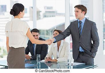 praca, transakcja, uzgodnienie, werbunek, po, spotkanie, znak