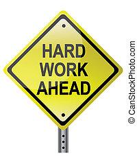 praca, twardy, na przodzie