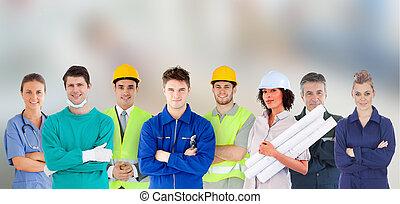 prace, ludzie, reputacja, grupa, różny
