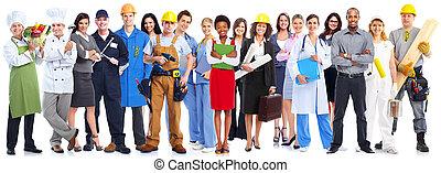 pracownicy, group., handlowy zaludniają