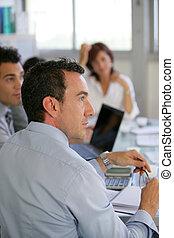 pracownicy, pilny, spotkanie, handlowy