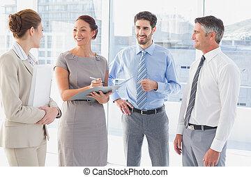 pracownicy, posiadanie, spotkanie, handlowy