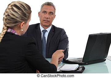 pracownicy, spotkanie, dwa, biuro