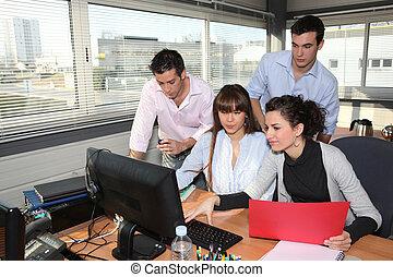 pracownicy, spotkanie, posiadanie, biuro