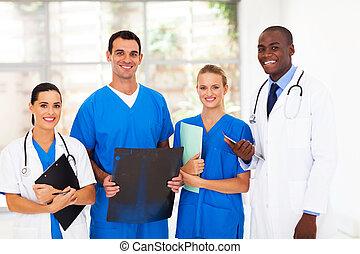 pracownicy, szpital, grupa, medyczny