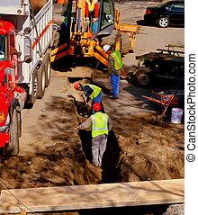 pracownicy, zbudowanie, wykopując