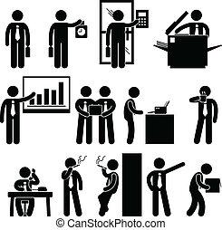 pracownik, biznesmen, praca, handlowy