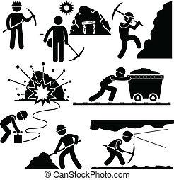 pracownik, górnictwo, robota, górnik, ludzie