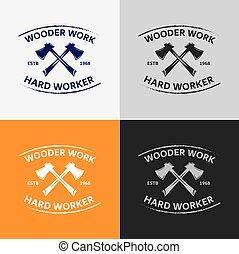 pracownik, logo, drewno, odznaka