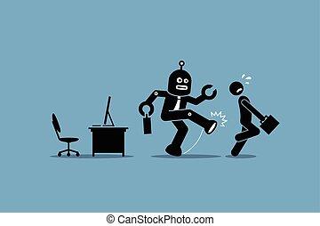pracownik, ludzki, pracownik, robot, precz, praca, biuro., jego, kopie, komputer