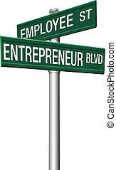 pracownik, przedsiębiorca, wybór, uliczne oznakowanie