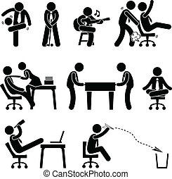 pracownik, zabawa, pracownik, biuro