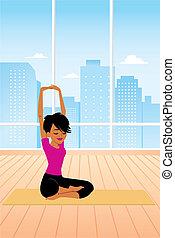 practicing, kobieta, yoga, posiedzenie