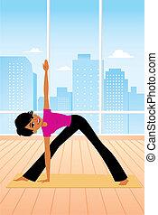 practicing, kobieta, yoga postawa