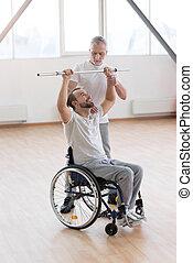 practitioner, sala gimnastyczna, generał, niepełnosprawny, poważny, nauczanie, sędziwy