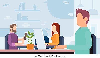 pracujące biuro, ludzie handlowe, coworking, miejsce pracy, drużyna