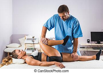 pracujący, atleta, terapeuta, samica, fizyczny, therapy.