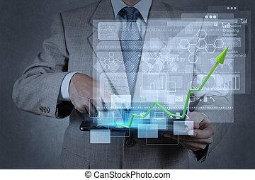 pracujący, biznesmen, nowoczesny, ręka, technologia