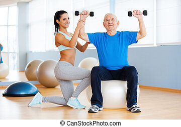 pracujący, ciężar, klub, zaufany, terapeuta, zdrowie, samica, exercises., senior, fizyczny, człowiek