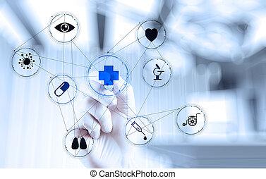 pracujący, doktor, nowoczesny, ręka, medycyna, komputer, interfejs