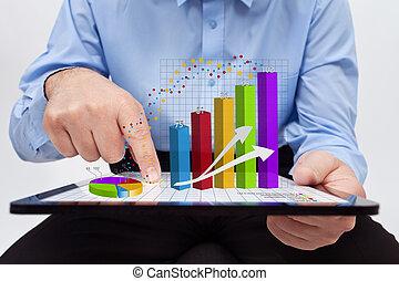 pracujący, roczny, -, wykresy, closeup, zameldować, biznesmen