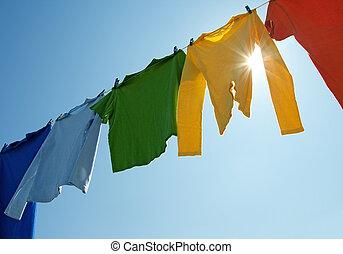 pralnia, barwny, słońce, kreska, lustrzany, odzież