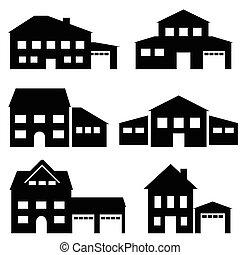 prawdziwy, architektura, dom, stan, ikony