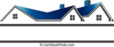 prawdziwy, dachy, logo, stan, domy