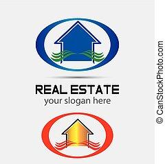 prawdziwy, dom, companie, stan, logo
