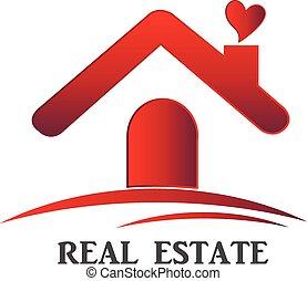 prawdziwy, dom, miłość, stan, logo