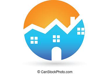 prawdziwy, dom, słoneczny, stan, logo