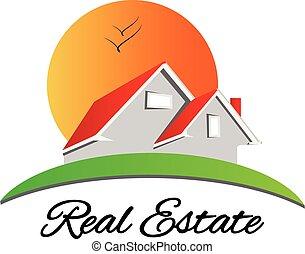 prawdziwy, dom, stan, czerwony, logo