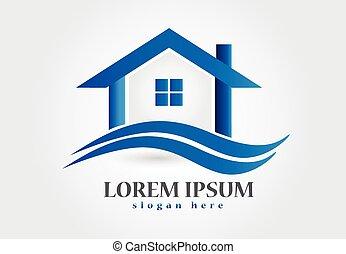 prawdziwy, dom, stan, logo